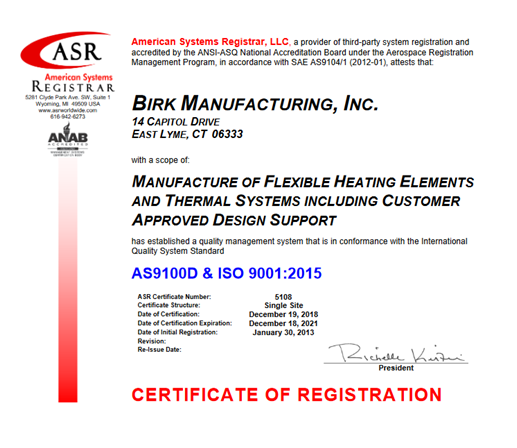 AS9100D and ISO 9001:2015 CERTS